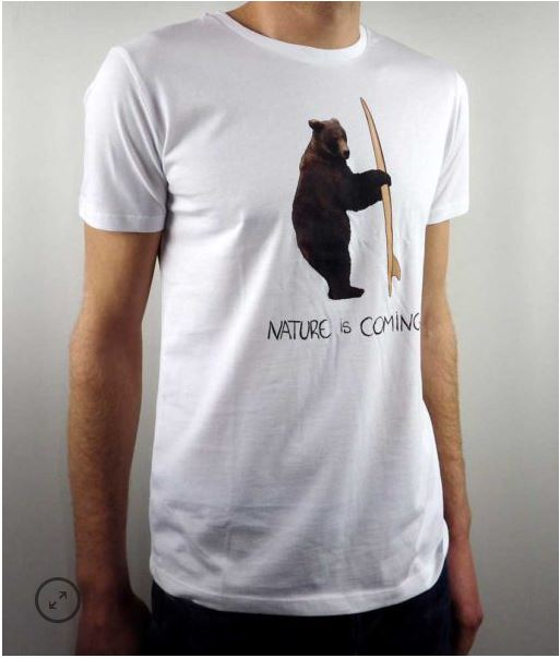 t shirt teddy surfer Nature is Coming Béziers
