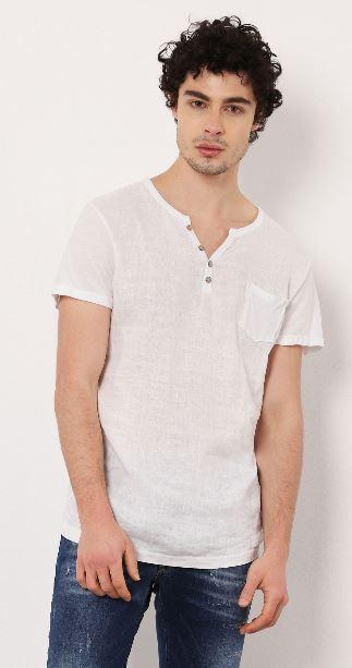 T-shirt col V avec boutons en lin et coton Imperial B'3 Quatre Béziers