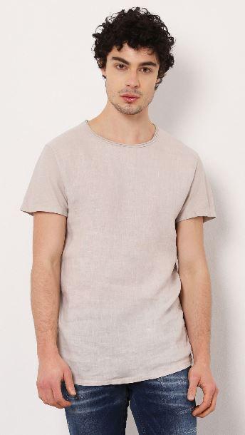 T-shirt lin et coton col rond Imperial B'3 Quatre Béziers